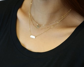Layered Necklace Set - Set of 3 Necklaces with Mini Name Plate Necklace . Personalized necklaces       ES008