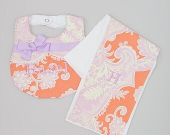 Large Boutique Bib and Burp Cloth Set - Amy Butler Love Sandlewood Tangerine with Purple Bow
