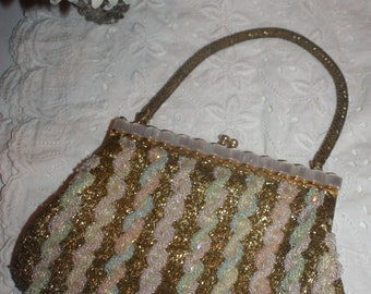 Vintage Hand Beaded Gold and White Beaded Evening Handbag with Mother of Pearl