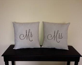 Mr. & Mrs. decorative pillow covers wedding bridal anniversary