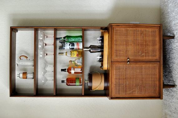 Mcm caned hutch dry bar cabinet vintage danish modern style - Modern bar cabinet designs for home ...