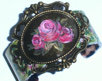 Boho Rose Cuff Bracelet Hand Painted Romantic Bohemian Jewelry