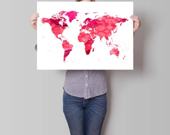 Oh the places youll go poster world map print nursery map watercolor print world map art motivational wall world map poster pink gumiabroncs Image collections