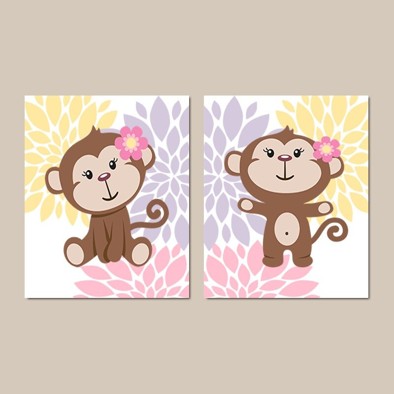 Baby girl nursery art monkey nursery art flower nursery wall for Baby girl nursery paintings