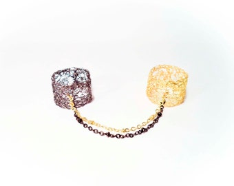 Bdsm chain rings two finger, Crochet Gold Plated 18k, black rhodium, rose gold, Slave Rings, Adjustable Rings, Double Rings (MADE TO ORDER)