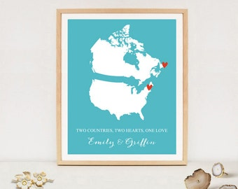 Two Countries Two hearts one Love Personalized Love Map - Custom Long distance love - Wedding Gift - Bridal Shower Gift - DIGITAL FILE!