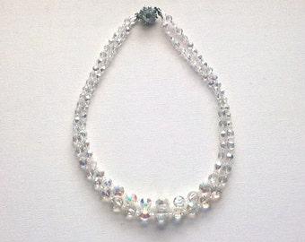 Vintage Crystal Necklace SALE Aurora Borealis 2 Strands