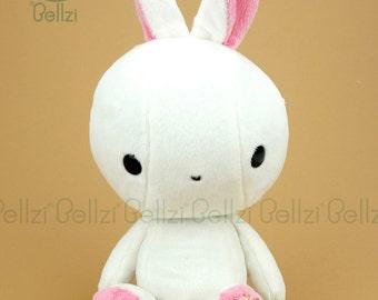 "Bellzi® Cute Rabbit Stuffed Animal Plush Toy White ""Pink"" Contrast Bunny Plushie - Bunni"