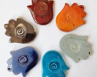 6 Hanging Hamsa, Hamsa Hand of Fatima, Ceramic Home Decor, Wall Hanging, Evil Eye, Clay Decor, Good Luck Decor, Lucy charm, Wall Ceramic