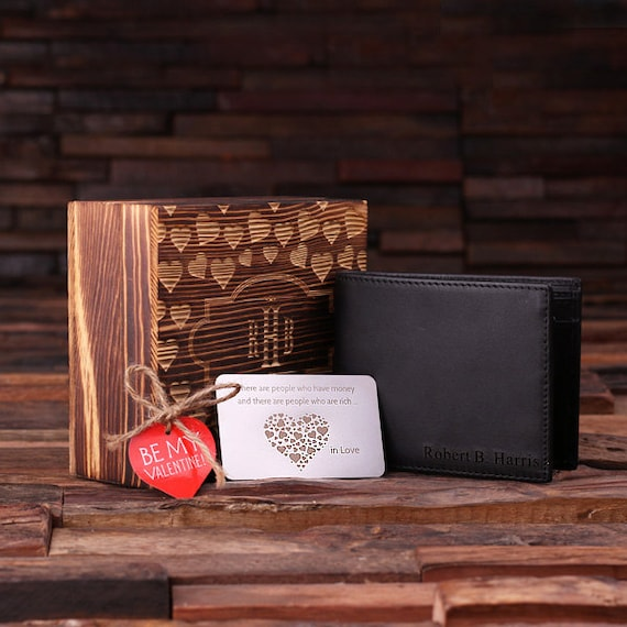 Personalized Valentine's Day Men's Leather Wallet with Wood Gift Box and Wallet Card