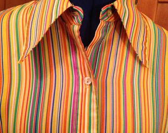 Cool Seventies Multi-Colored Striped Blouse