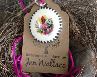 Australian Floral Bouquet Pendant Necklace with Hand Dyed Fairy Silk Ribbon