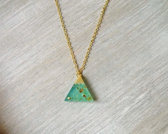 Snowy mountain necklace, Triangle pendant, Geometric necklace,