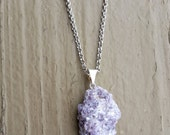RAW LEPIDOLITE CRYSTAL Necklace, Rock Jewelry, Geo, Crystal Necklace