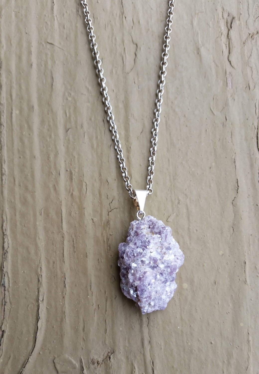 Raw Lepidolite Crystal Necklace Rock Jewelry Geo Crystal