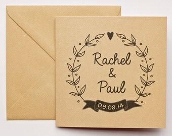 Personalised wedding greeting card in kraft card + envelope, Mr & Mrs custom wedding card