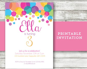 Polka Dot Birthday Invitation - Girl - Rainbow - Printable File - Item BD105