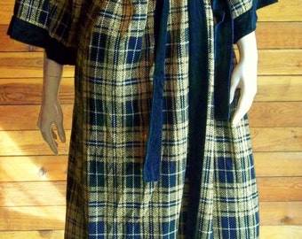 Vintage Lingerie 1970s BLANCHE Gold and Small Black Plaid Robe or Housecoat