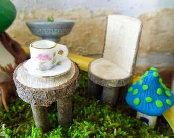 Fairy Garden Table & Chair -:- Twig Furniture - Gnome Wooden Furniture - Perfect for Fairy Garden Scenes