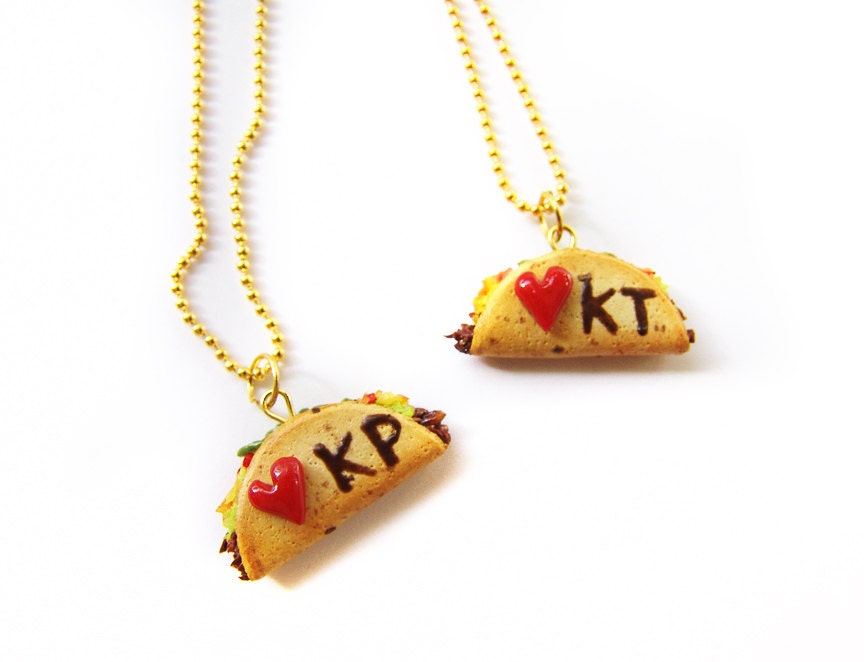 taco best friend necklaces miniature food jewelry