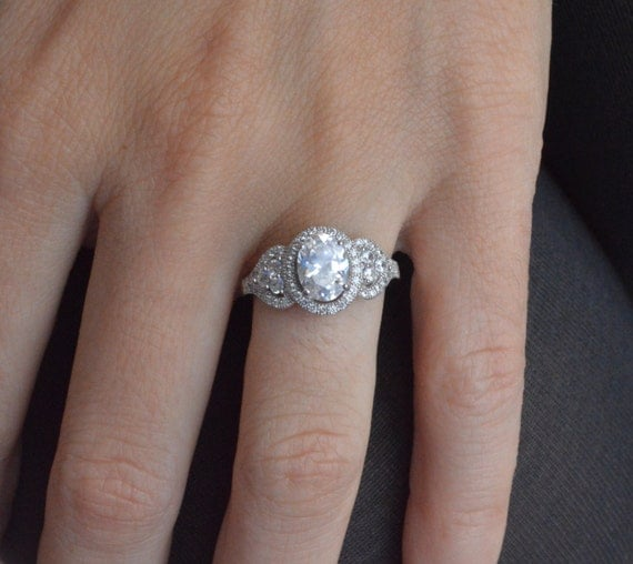 Oval Halo Engagement Ring Oval Cut Solitaire Ring Sterling