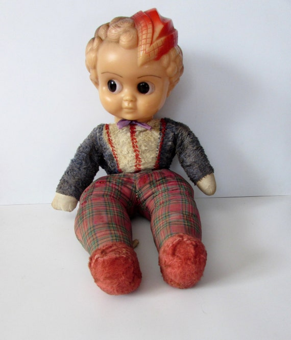Rare Old Large Palitoy Rag Doll With Soft Rubber Head 1940s