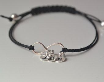 Friendship bracelet,3 best friend, Best friends,Infinity silver friendship for 3 Friends,3 best friend Initial Bracelet,Black Bracelet
