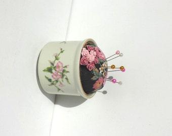 Pincushion, Floral Pincushion, Shabby Chic Pincushion,Handmade Pincushion, Porcelain Pincushion,Sewing Gift -  by FairyLace Designs