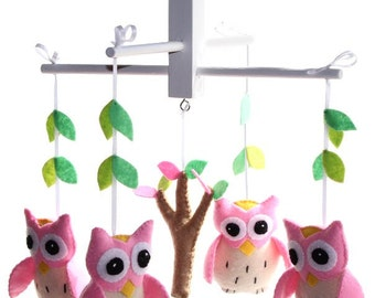 Pink Owl Mobile - Woodland Owl Nursery Mobile