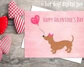 Dachshund Valentine's Day Card