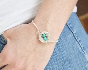 Mommy Bracelet - Bird Nest Bracelet - Nest Jewelry - Mom Gift Ideas for Christmas gift - Custom Gift for Christmas Gift for Mom Jewelry