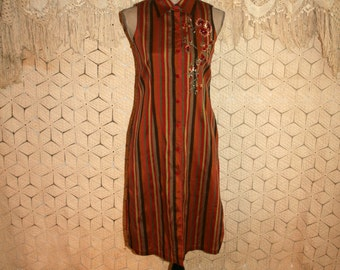 Long Vest Sleeveless Duster Coat Silk Bohemian Clothing Fall Tunic Dress Button Up Embroidered Rust Copper Stripe XS Small Womens Clothing