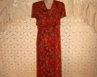 Red Floral Dress African Print Tribal Print Day Dress Short Sleeve Dress Vintage 90s Dress Rayon Size 6 Dress Small Medium Womens Clothing
