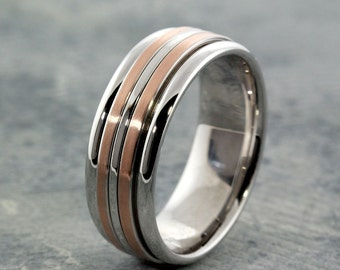 """Men's """"Cool Ring"""" in White and Rose Gold.  READY TO SHIP!"""