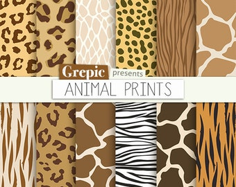 "Animal print digital paper: ""ANIMAL PRINTS"" w/ zebra print, panther, tiger, cheetah giraffe, reptile, leopard patterns 