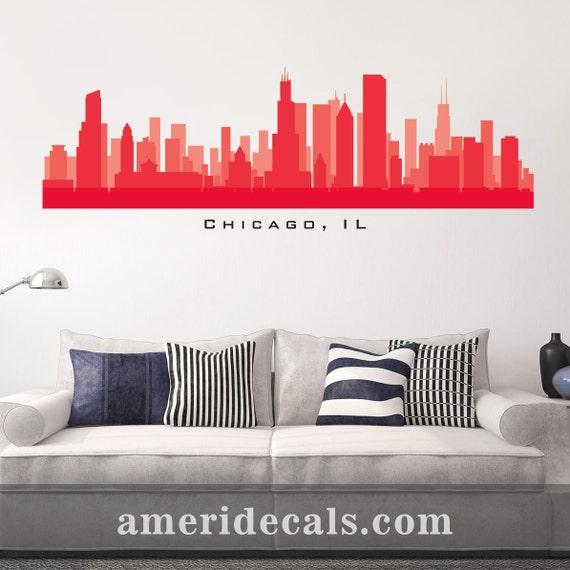 Chicago illinois skyline wall decal art peel and stick for Good look chicago skyline wall decal