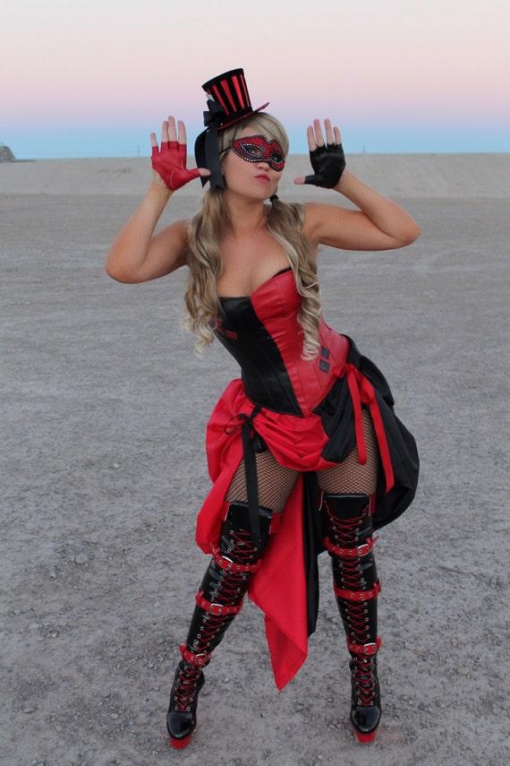 Harley burlesque quinn costume overbust corset like this item solutioingenieria Images