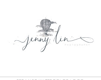 Watercolor Business Logo, watercolor design, photography, watermark, painted, hot air balloon - Newborn photography logo, maternity logo