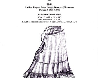 Digital Antique Sewing Pattern for Classic 1904 Edwardian Open Drawers (Pantaloons) - PDF format to print at home - 2 sizes(M & L) incl'd