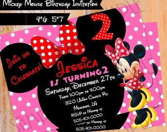 Minnie Mouse Printable Birthday Invitation, Personalized Digital Download, Birthday Girl party ideas, Digital Invite 4x6 or 5x7 Card