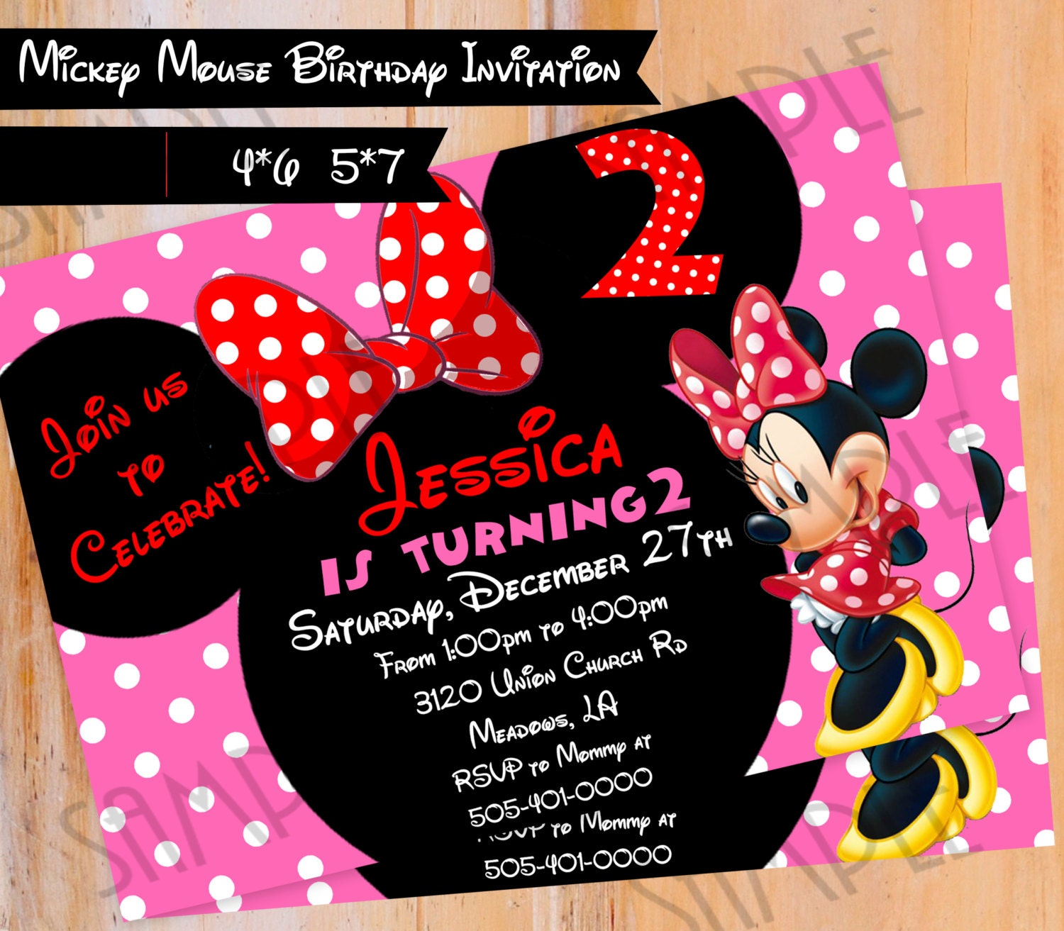 Minnie Mouse Printable Birthday Invitation Personalized