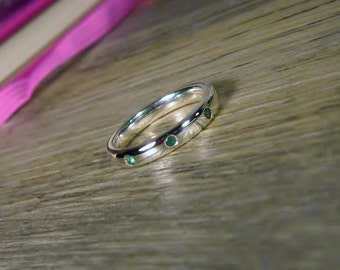 Emerald Sterling Silver Gemstone Band, Stacking Ring, Made to Order, aquamarine, topaz, garnet, and sapphire also available