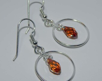 Hoop Dangle Earrings Sterling Silver Hoop Earrings