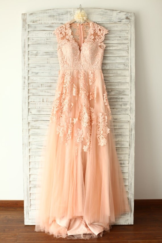 Custom make peach pink lace tulle wedding dress v by misdress for Peach dresses for wedding