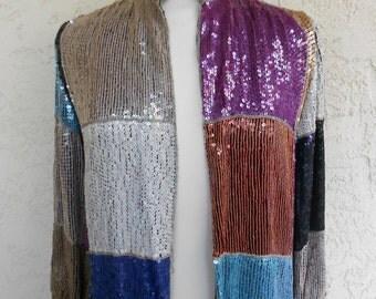 Vintage 80s ColorBlock Beaded Silk Jacket