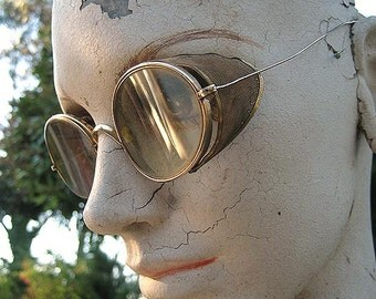 Victorian Steampunk Gold Driving Safety GOGGLES Glasses