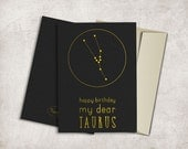Taurus Constellation Birthday Card Printable, Digital File, Instant Download - Zodiac Birthday Card