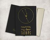 Taurus Constellation Birthday Card Printable, Digital File, Instant Download - Zodiac Birthday Card