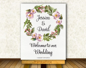 Printable Wedding Welcome Sign, Floral Welcome Sign Printable, Welcome Poster, Wedding Sign, Wedding Reception, Bridal Shower Welcome Sign