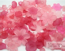 100pcs lucite flower beads pink flower & leaf jewellery acrylic craft accessory diy materials, mix lot acrylic fake flower sew on plastic